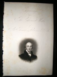 After Thomas Lawrence C1840 Folio Mezzotint Portrait. Self Portrait, Title Pag